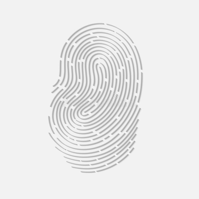 Touch fingerprint id app with shadows vector illustration. Isolated royalty free illustration
