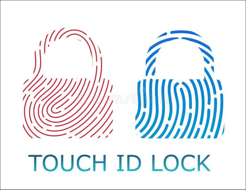 Touch fingerprint id lock app vector illustration. Two styles stock illustration
