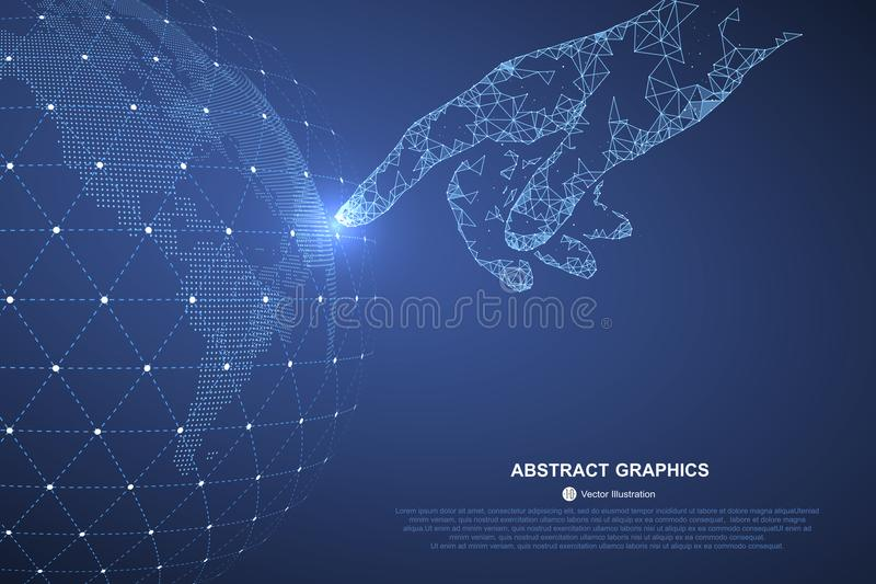 Touch the future, illustration of a sense of science and technology. royalty free illustration