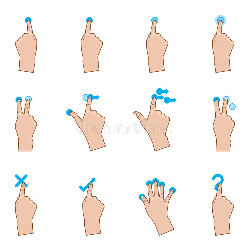 Touch Gestures. A set of hand on a touch pad. Fully editable EPS 10 with transparency vector illustration