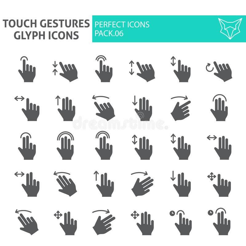 Touch gestures glyph icon set, click symbols collection, vector sketches, logo illustrations, swipe signs solid stock illustration