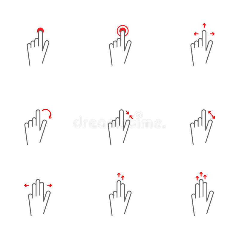 Touch gestures icons royalty free illustration