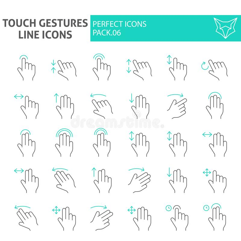 Touch gestures thin line icon set, click symbols collection, vector sketches, logo illustrations, swipe signs linear royalty free illustration