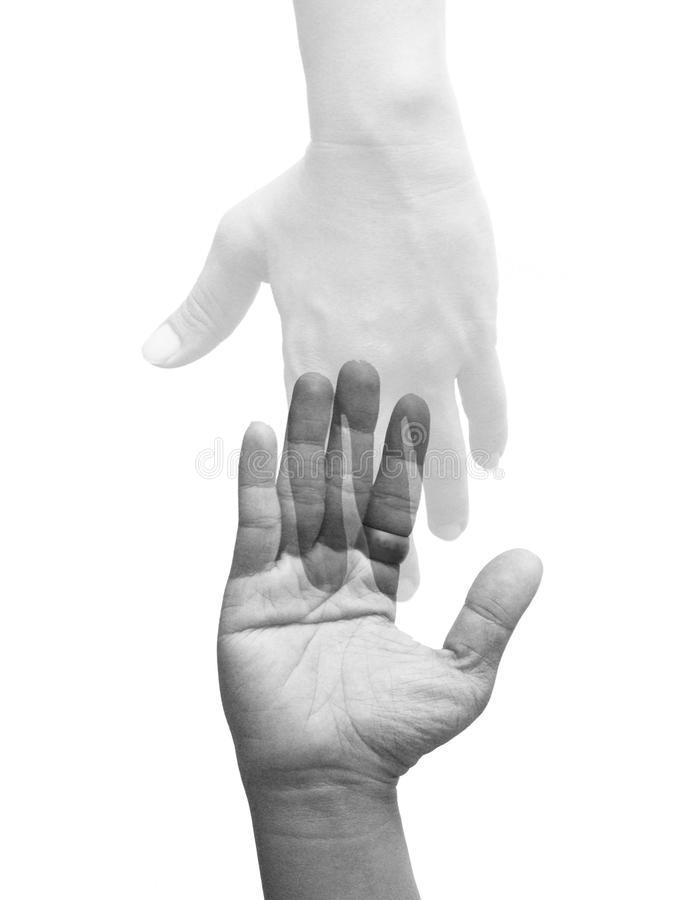 Touch Hands with Ghost loneliness royalty free stock image