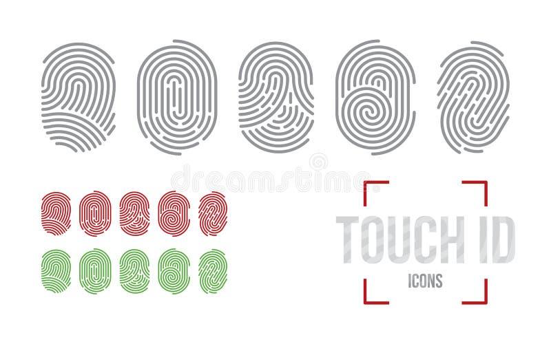 Touch ID icons set, fingerprint scanning identification system royalty free illustration