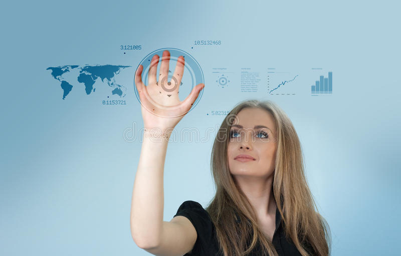 Touch interface - Future. Beautiful lady in futuristic business scene stock illustration