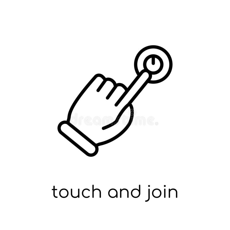 Touch and join icon. Trendy modern flat linear vector Touch and royalty free illustration