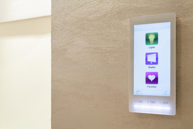 Touch pad in intelligent house stock photos