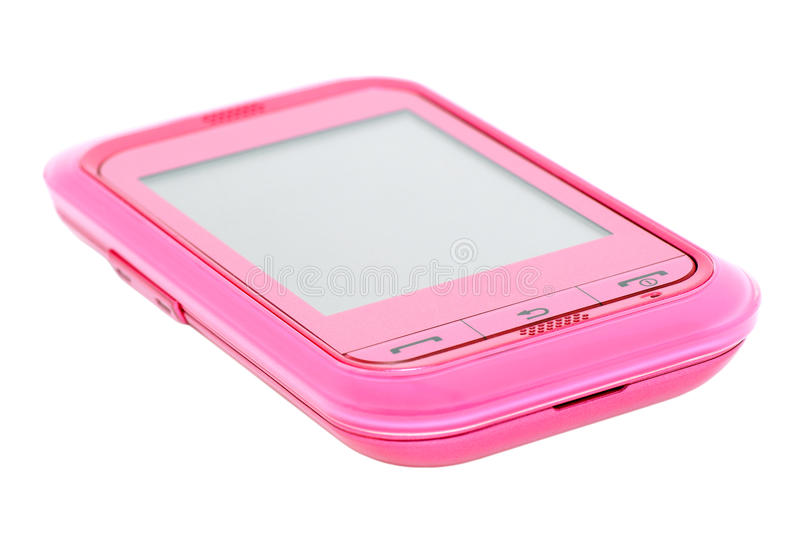 Touch Phone. Pink touchscreen mobile phone on white background stock photography