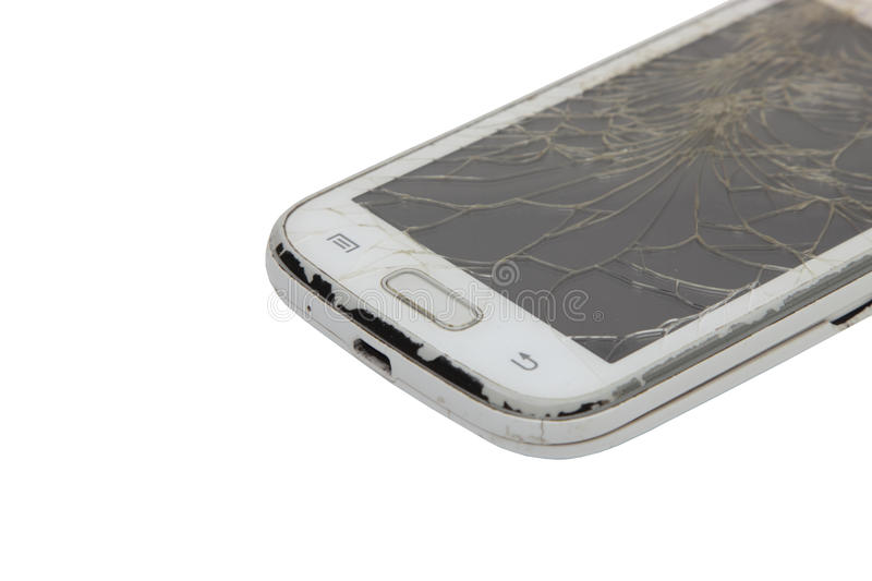 Download Touch Phone With A Broken Display On White Background Stock Image - Image of studio, broken: 83710099