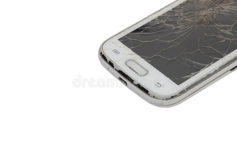 Download Touch Phone With A Broken Display On White Background Stock Image - Image of isolated, studio: 83711265