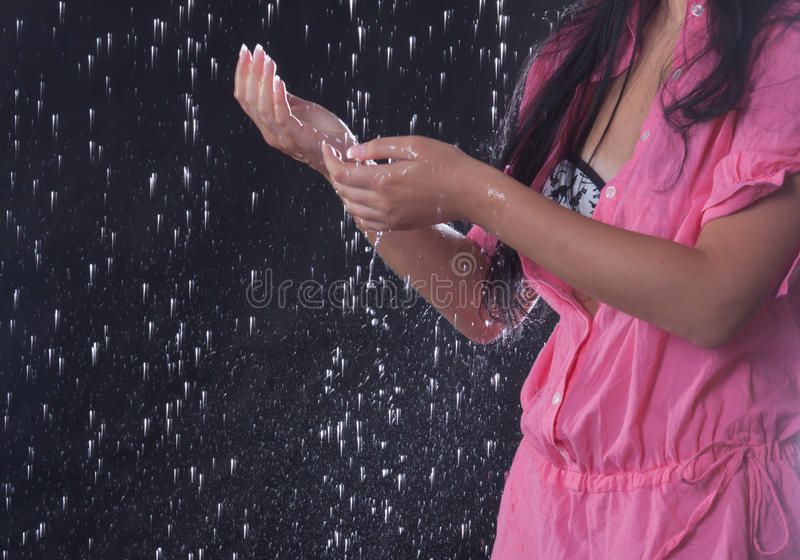 Touch of rain stock photography