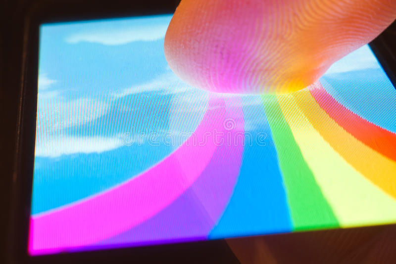 Download Touch rainbow stock photo. Image of display, gadget, palm - 18752716