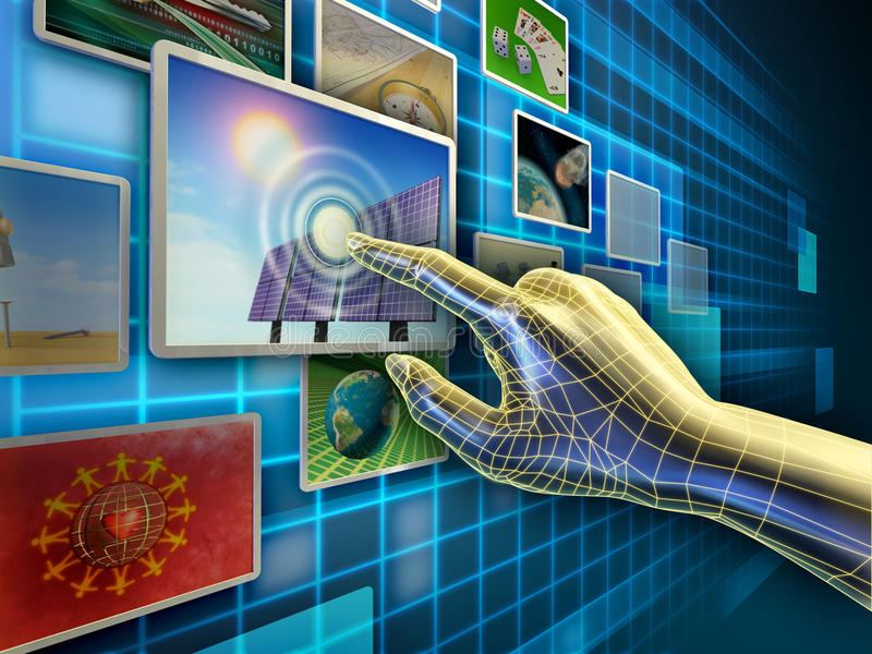 Touch screen. Hand using a touch-screen interface to browse through an image database. Digital illustration stock illustration