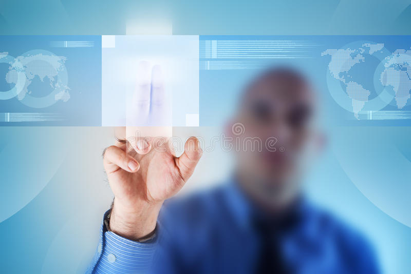 Touch screen button stock image