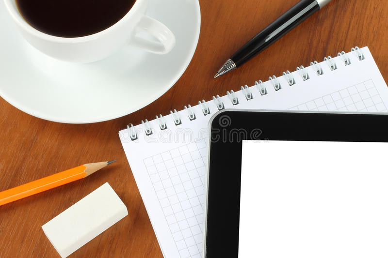Download Touch Screen Device, Notepad, Pen And Coffee Cup Stock Photography - Image: 24355482