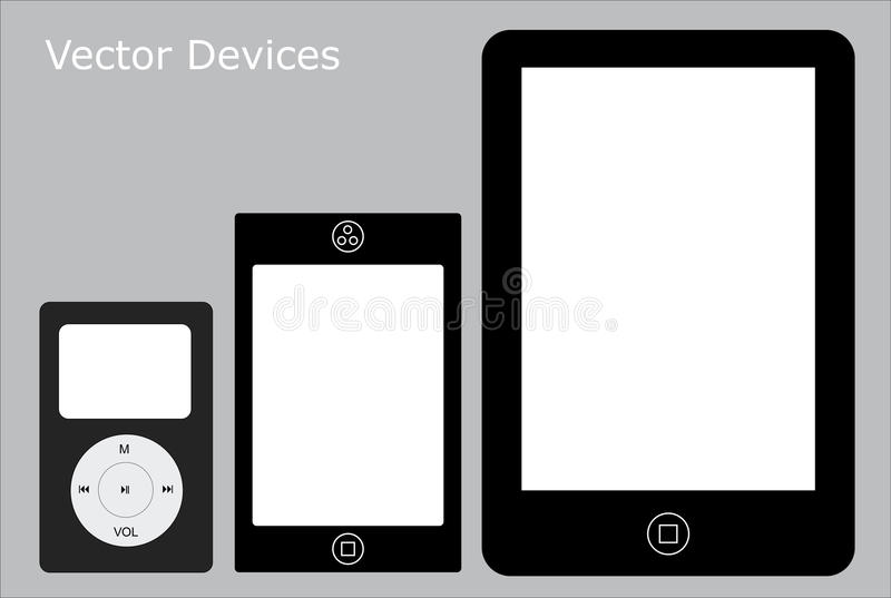 Touch Screen Devices. A set of modern touch screen devices that are unbranded and simple stock illustration