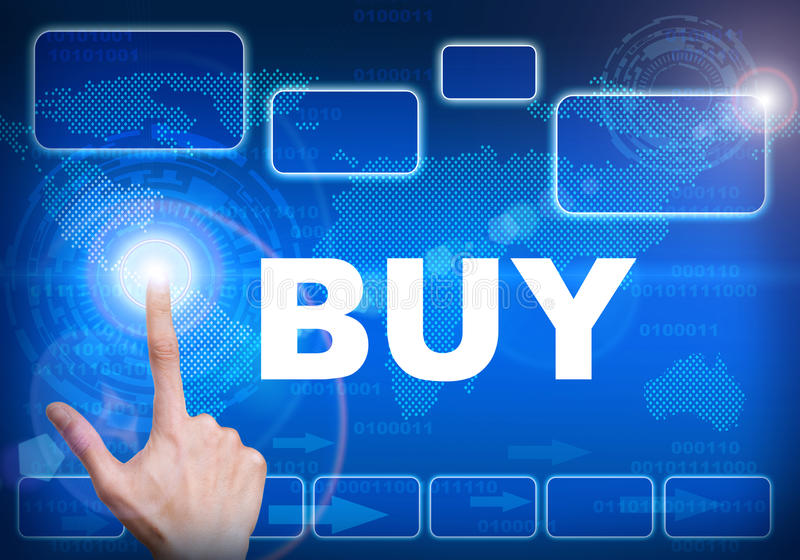 Touch screen digital interface of buy concept. Human finger pressing high tech glowing modern buy interface touch screen button on abstract blue technology stock illustration