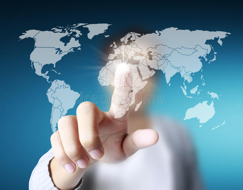 Touch screen display. Finger pressing the touch screen display royalty free stock photography