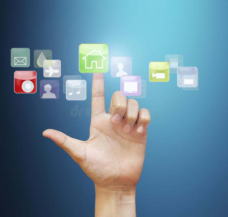 Touch screen display. Finger pressing the touch screen display royalty free stock photos