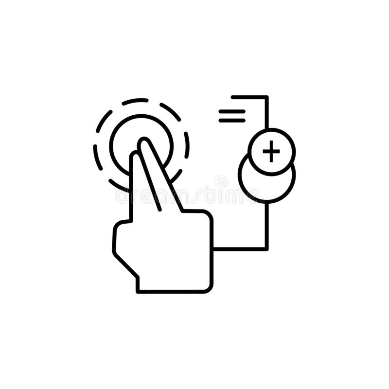 Touch, screen, electronics, finger icon. Element of corruption icon. Thin line icon on white background. On white background vector illustration