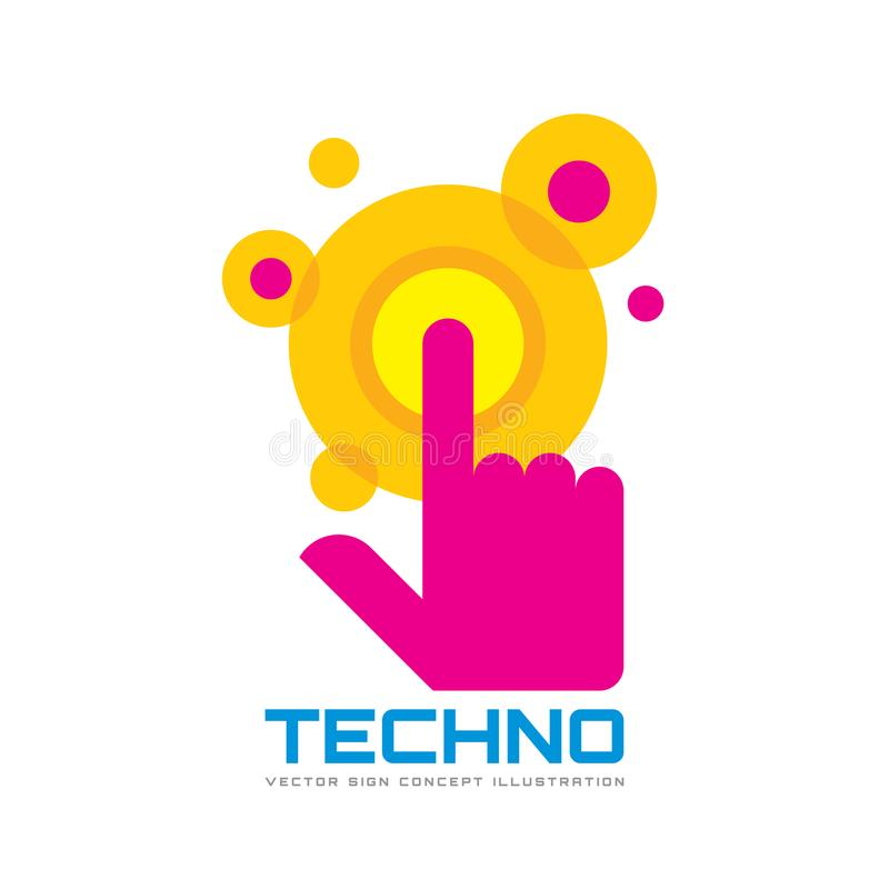 Touch screen finger - vector logo template concept illustration. Human hand on surface display. Modern mobile technology sign. Abstract symbol. Design element vector illustration