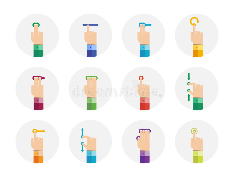 Download Touch screen gestures set stock illustration. Image of drag - 32285584
