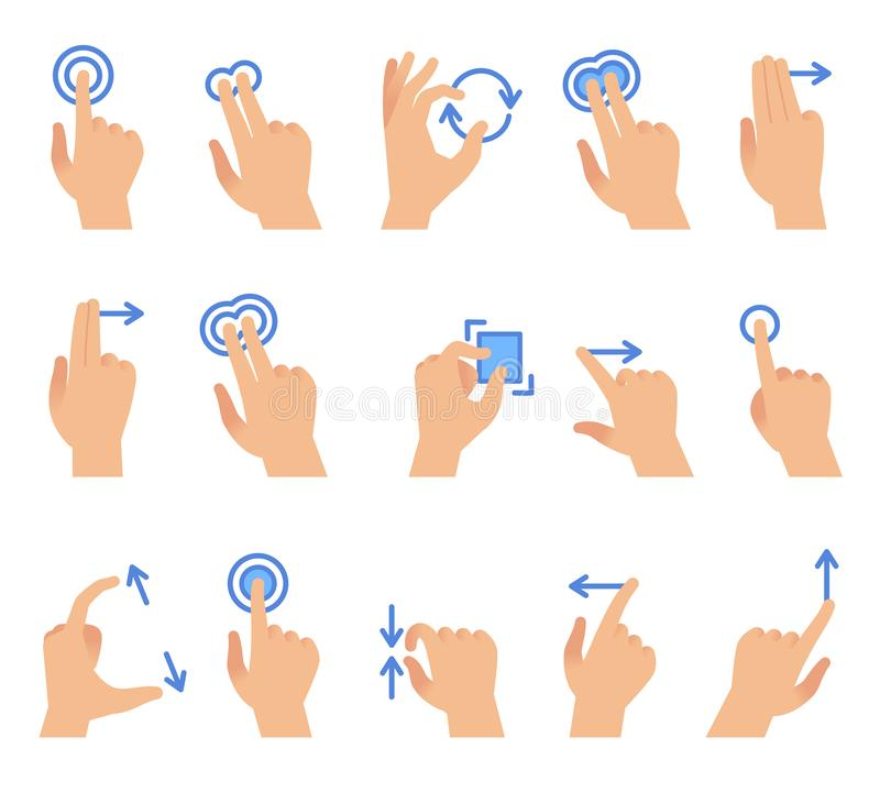 Touch screen hand gestures. Touching screen devices communication, drag using finger gesture for apps interface vector stock illustration