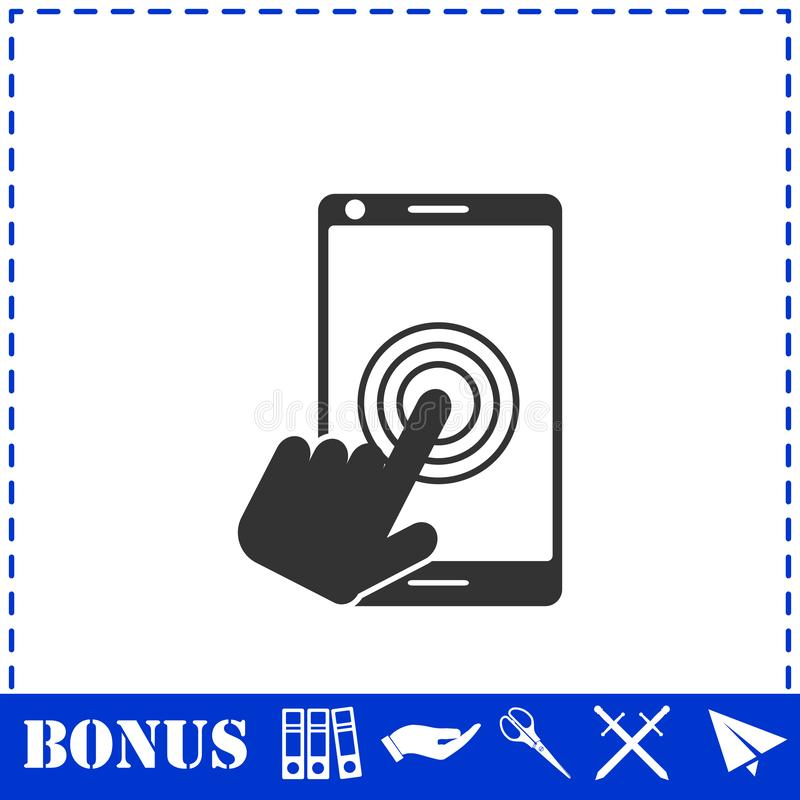 Touch screen icon flat. Simple vector symbol and bonus icon royalty free illustration