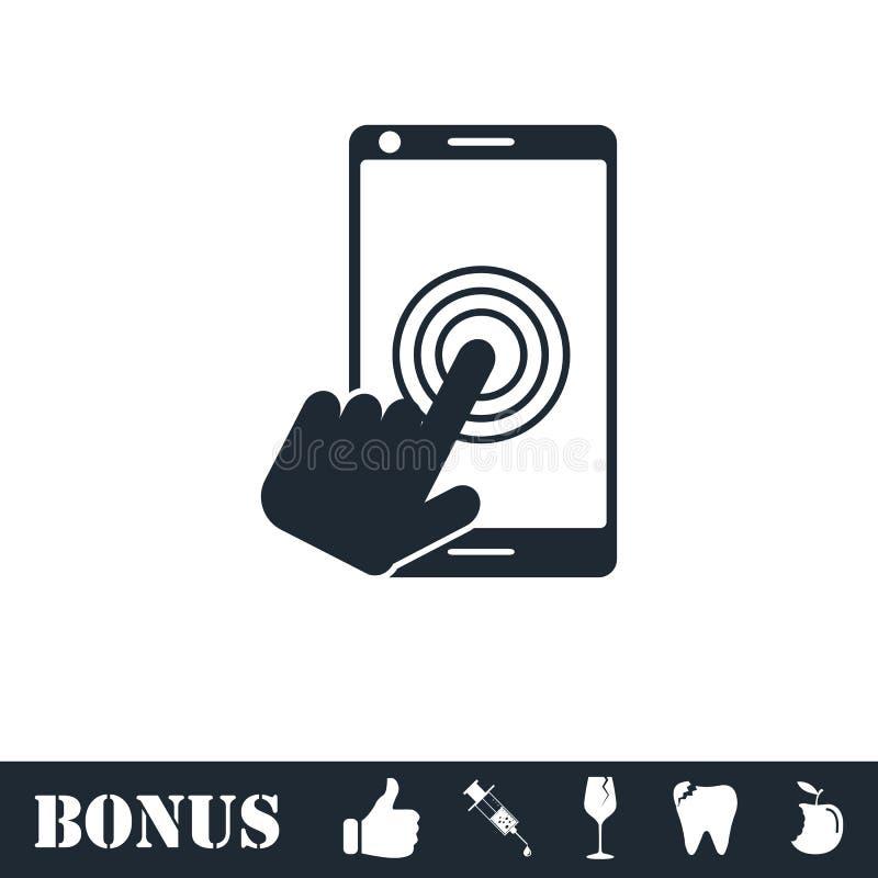 Touch screen icon flat. Vector illustration symbol and bonus pictogram vector illustration