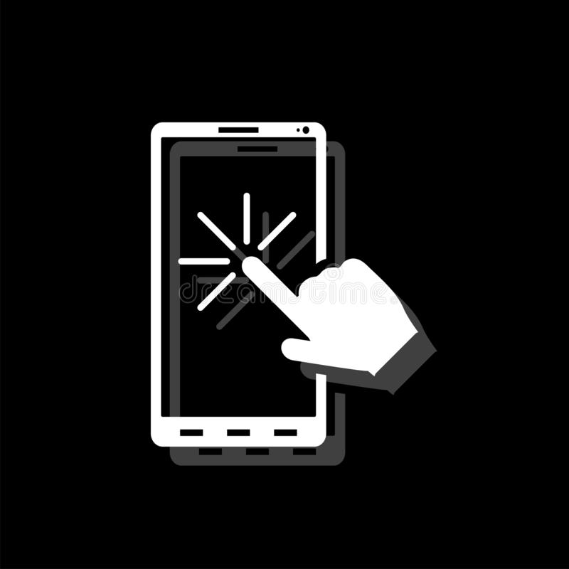 Touch screen icon flat. Touch screen. White flat simple icon with shadow stock illustration