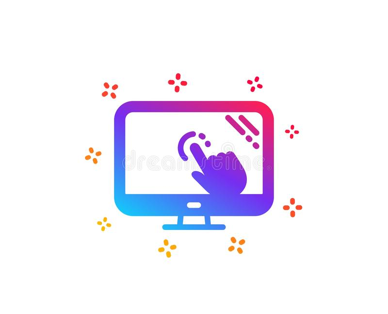 Touch screen icon. Online quiz test sign. Vector. Touch screen icon. Online quiz test sign. Dynamic shapes. Gradient design touch screen icon. Classic style royalty free illustration