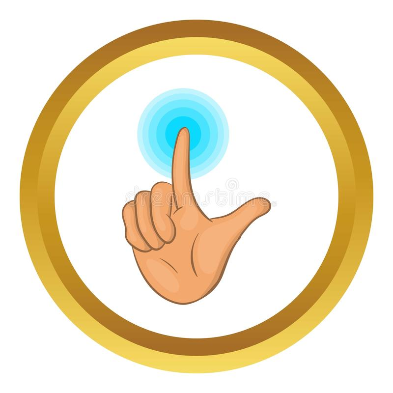 Touch screen icon. In golden circle, cartoon style isolated on white background stock illustration