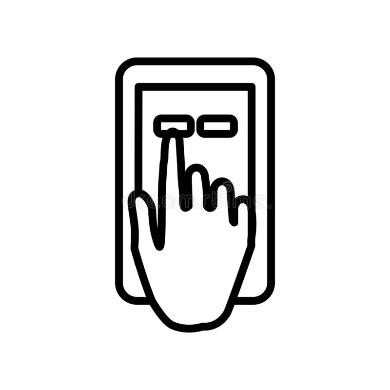 Touch screen icon vector isolated on white background, Touch screen sign , line or linear sign, element design in outline style. Touch screen icon vector royalty free illustration