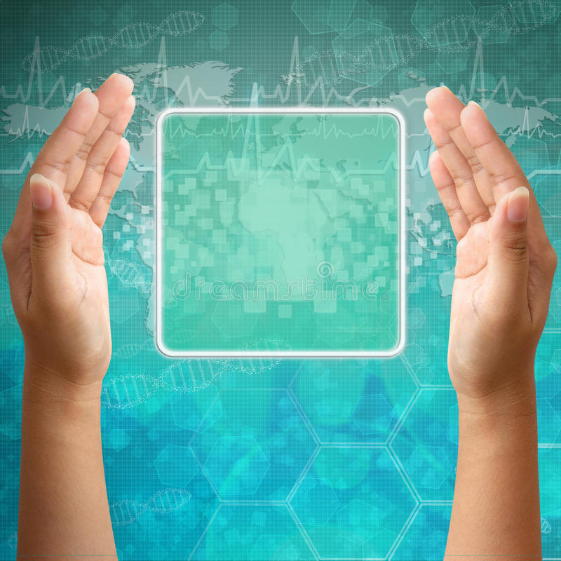 Download Touch Screen Interface On Woman Hand Stock Image - Image: 26685089