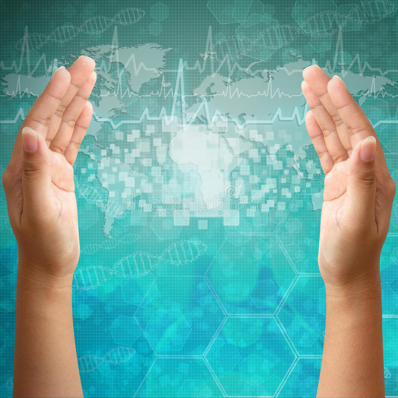 Download Touch Screen Interface On Woman Hand Stock Photo - Image of center, concept: 26687002