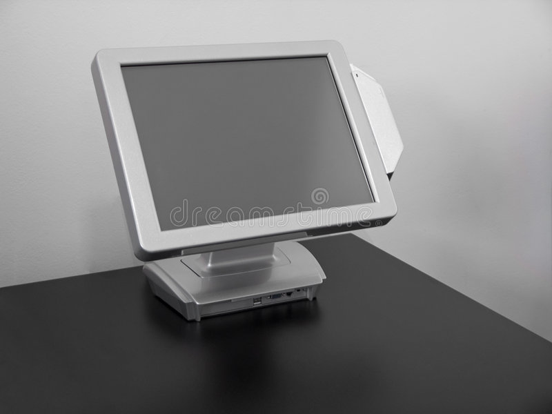 Touch-screen LCD display. Cash register for restaurants stock photography