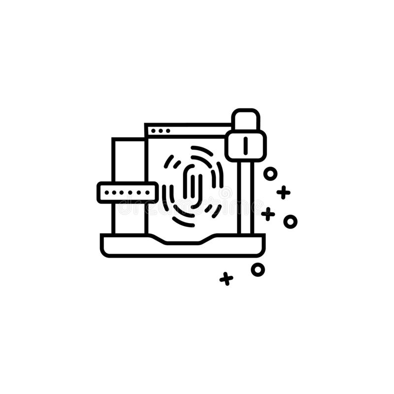 Touch screen lock laptop finger icon. Element of cyber security icon. Touch screen, lock, laptop, finger icon. Element of cyber security icon on white background royalty free illustration
