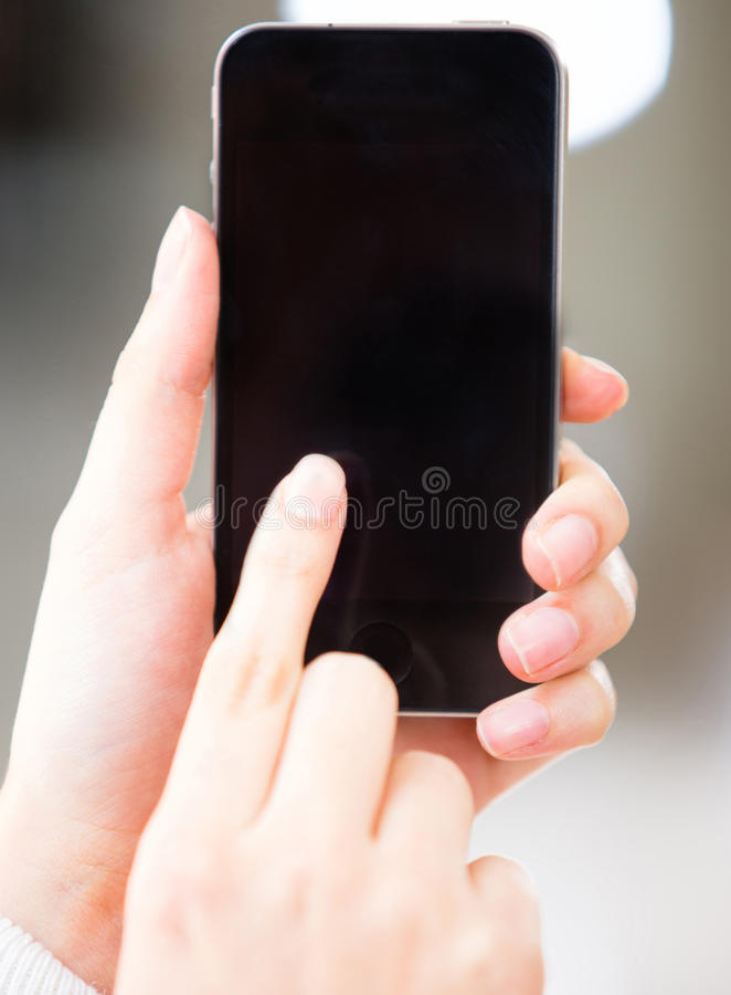 Download Touch screen mobile phone stock photo. Image of finger - 25433260