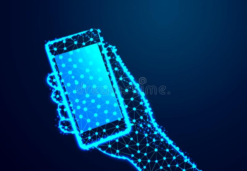 Touch screen mobile phone, in hand with clipping path. Connection and disconnection concept. lines, triangles and particle style. Touch screen mobile phone, in vector illustration
