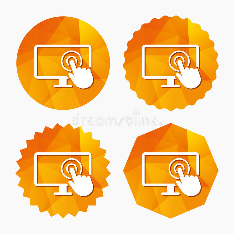 Touch screen monitor sign icon. Hand pointer. Touch screen monitor sign icon. Hand pointer symbol. Triangular low poly buttons with flat icon. Vector royalty free illustration