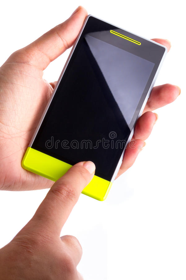 Touch screen smart phone with blank display. In hand over white royalty free stock image