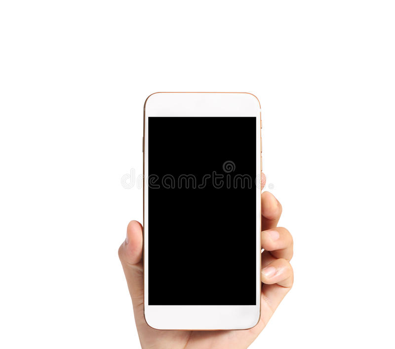 Touch screen smartphone in hand stock photography