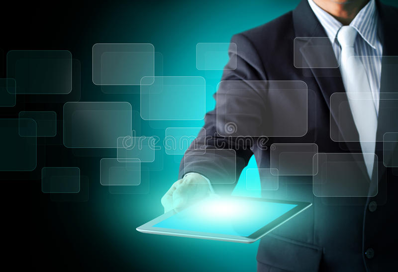 Touch screen tablet in hands business man. Touch screen, touch tablet in hands Business man stock image