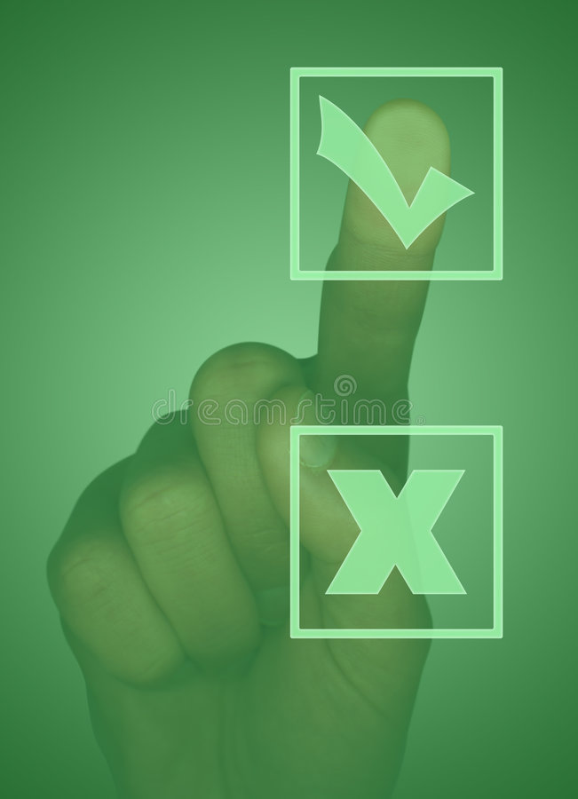 Download Touch Screen With Tick Box, Cross Box And Hand Stock Photo - Image of screen, monitor: 3618868