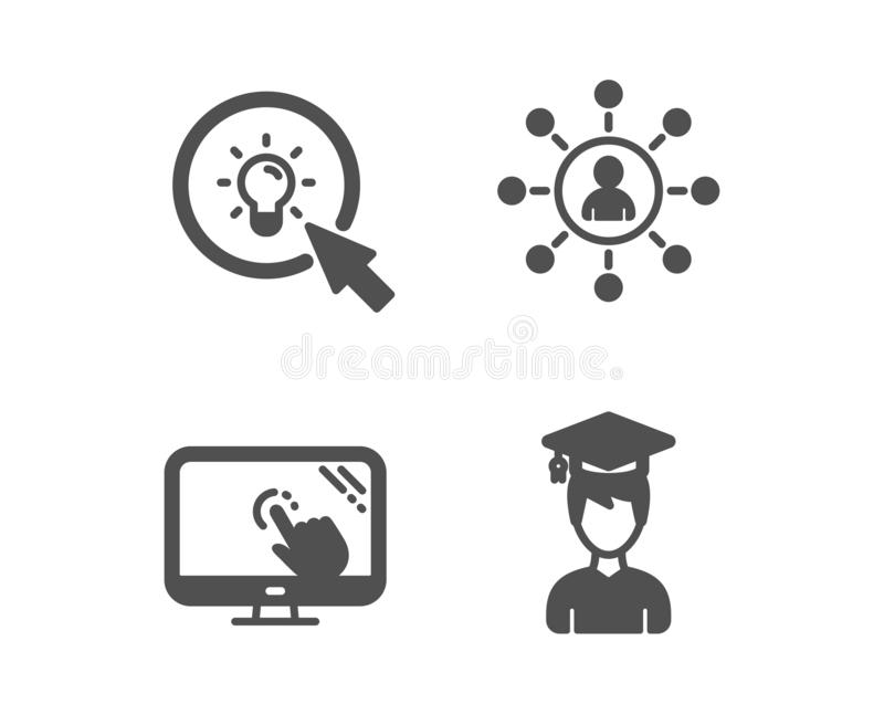 Touch screen, Voorzien van een netwerk en Energiepictogrammen Het teken van de student Vector stock illustratie