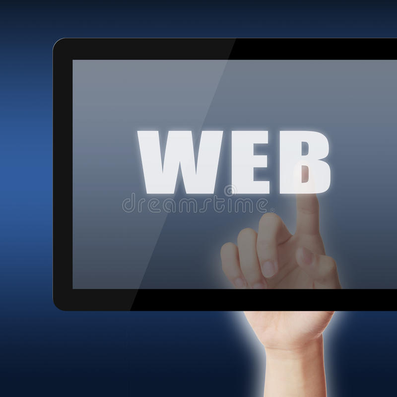 Touch the word WEB stock photo