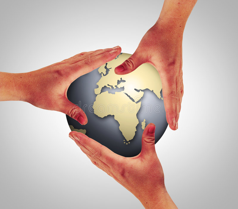 Touch the world. Three hands are touching the whole world stock photos