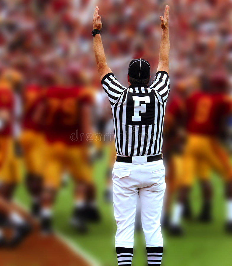 Touchdown. Referee with hands up