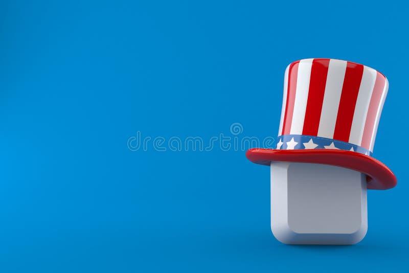 Touche d'ordinateur avec le chapeau des Etats-Unis illustration de vecteur
